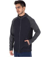 jaqueta com capuz oxer manga mescla - masculina - preto/cinza esc