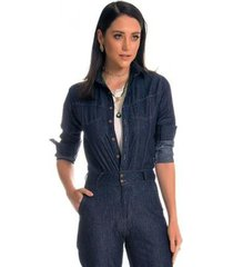macacão jeans zait longo bernadete - feminino