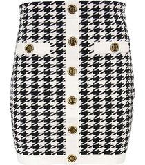 balmain high-waisted houndstooth print skirt
