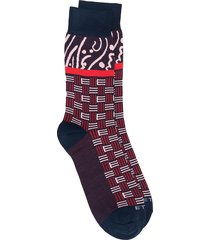 etro logo embroidered socks - blue
