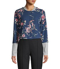 cropped floral embroidery bomber jacket