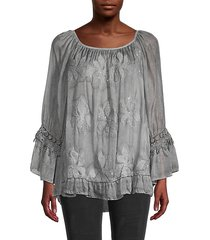 ruffle & embroidery tunic