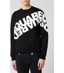dsquared2 men's angled mirror logo sweatshirt - black - m