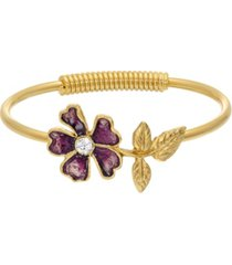 2028 women's gold tone purple enamel flower and crystal accent spring hinge cuff bracelet