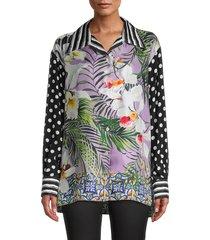 dolce & gabbana women's mixed print button down blouse - mix coloring - size 42 (8)