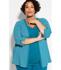 suprema striped cardigan with sleeve detail