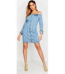 off the shoulder denim dress, mid blue