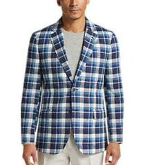 nautica blue & white plaid modern fit sport coat