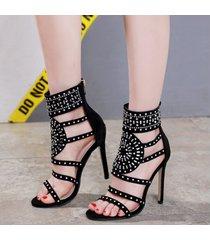 sandalias de tacón alto con punta abierta y diamantes de imitación de mujer
