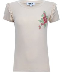 camiseta arandelas con screen color café, talla 6
