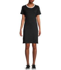calvin klein women's logo-tape t-shirt dress - black white - size m