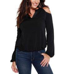 belldini black label studded cold shoulder top