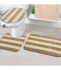 jogo de tapetes para banheiro tapetes junior tecil pop em poliéster topázio bege antiderrapante 3 peças