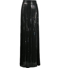 dundas sequin-embellished sheer silk skirt - black