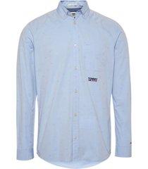 camisa manga larga tjm novel jacquard azul tommy jeans