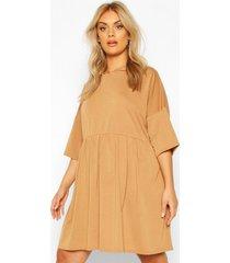 plus hooded smock sweat dress, camel