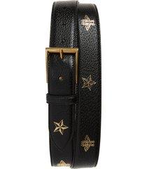 men's big & tall gucci leather belt, size 120 eu - black