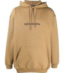 balenciaga logo-print hoodie - brown