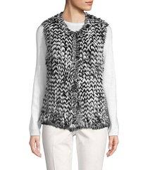 dyed rabbit fur chevron vest