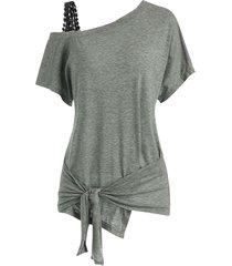 guipure insert skew neck tie hem t-shirt