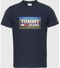 polera tommy jeans tjm stretch tee centre logo azul - calce regular