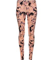 leggings deportivo estampado abstracto negro y naranja color rosado, talla xs