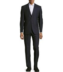 saks fifth avenue made in italy men's classic-fit flat-front wool suit - tonal grey - size 40 r