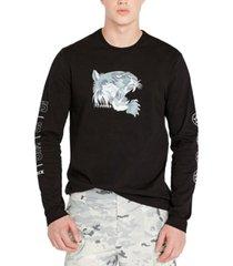 avirex men's ice tiger print long sleeve t-shirt