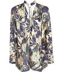 victoria beckham floral printed blouse