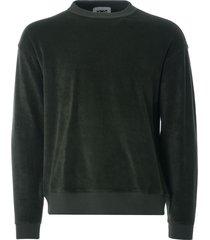 ymc daisy age cotton towelling crew sweatshirt | dark olive | p7qao-30