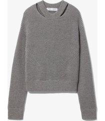 proenza schouler white label chunky rib knit sweater grey mouline l