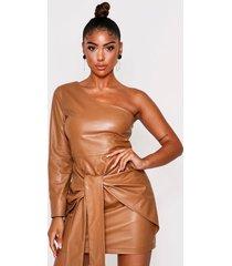 one shoulder tie front dress, camel