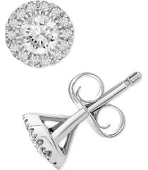 platinum by wrapped in love diamond halo stud earrings (1/2 ct. t.w.) in platinum, created for macy's