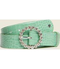 motivi cintura stampa cocco con fibbia gioiello donna verde