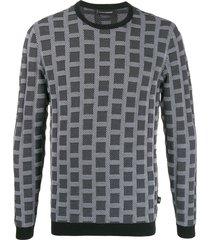 emporio armani squares-jacquard sweatshirt - black
