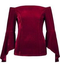 nuevo otoño fuera del hombro vestido de encaje de manga larga camiseta de mujer tops
