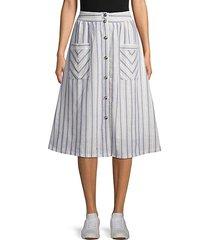 striped cotton a-line skirt