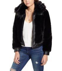 women's blanknyc faux fur jacket, size medium - black