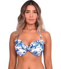 bikini sostén strapless con vuelos estampado azul samia