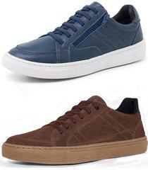 kit 2 sapatenis sandalo soft azul e basic marrom