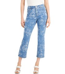 inc high rise printed cropped straight-leg jeans, created for macy's