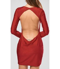 scoop collar solid color backless long sleeves women's bodycon dress