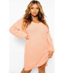 plus mini sweater jurk met v-hals, apricot