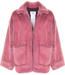 doublet hand painted faux-fur jacket - pink