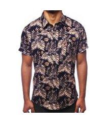camisa camaleão urbano folhagem tropical ouro masculina
