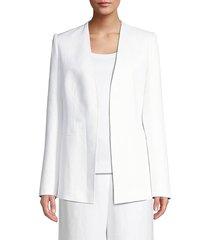 lafayette 148 new york women's miranda linen open jacket - white - size 10