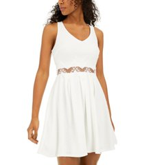 sequin hearts juniors' lace-waist a-line dress