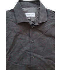 hamaki-ho grijs slim fit overhemd lange mouw valt kleiner