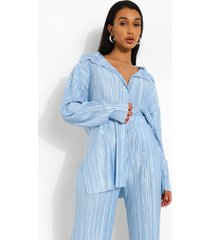 oversized baggy plisse shirt, powder blue