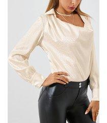 camicetta casual a maniche lunghe in tinta unita per donna